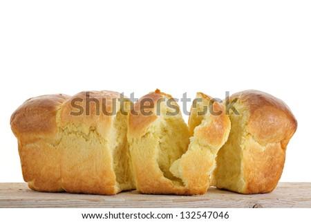 Chopped Brioche on white background - stock photo