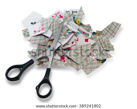 Chopped card slot and scissors on a white background - stock photo
