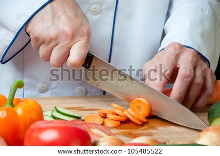 Chopped carrot, studio shot - stock photo
