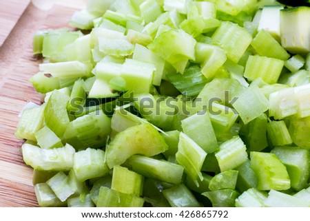 chopped celery close up  - stock photo