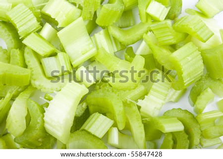 Chopped celery pieces - stock photo