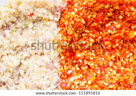 Chopped chili pepper and garlic - stock photo