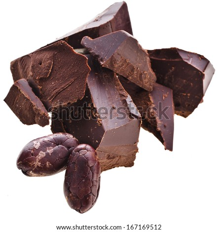 Chopped chocolate bar and cocoa beans isolated on white background - stock photo