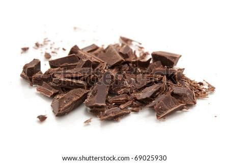 chopped chocolate isolated on white - stock photo