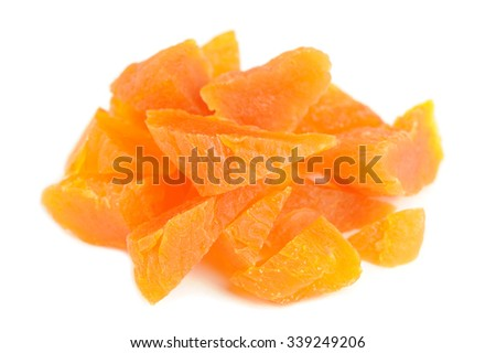 Chopped Dried Apricots Isolated on White Background