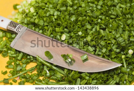 chopped green onions with a knife - stock photo