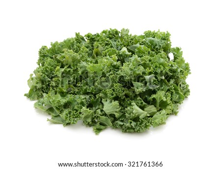 Chopped kale, isolated on a white background - stock photo