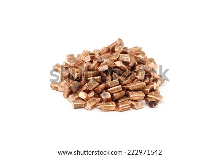 chopped pieces of copper wire on a white background  - stock photo
