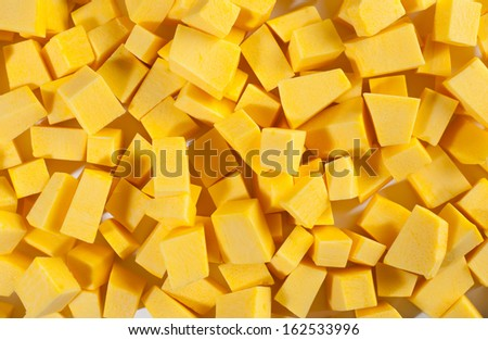 chopped pumpkin prepared for cooking  - stock photo