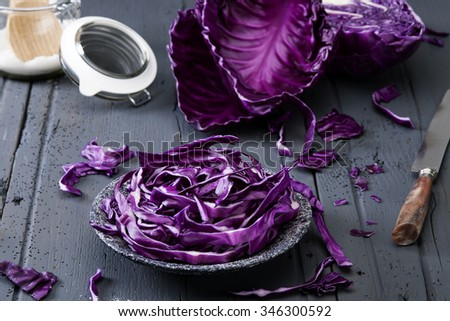 chopped red cabbage on old wooden table