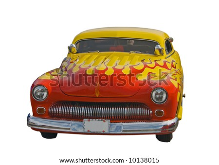 chopped roof yellow hotrod with red flames - stock photo