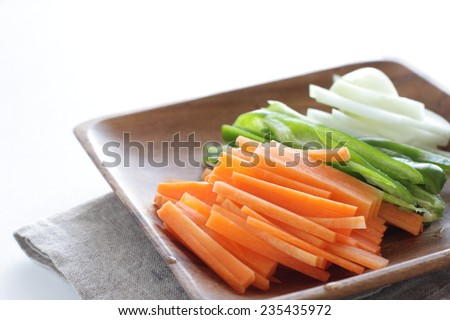 chopped vegetable ready for Chinese stir fry - stock photo