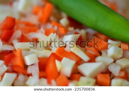 chopped vegetables whit chilli - stock photo