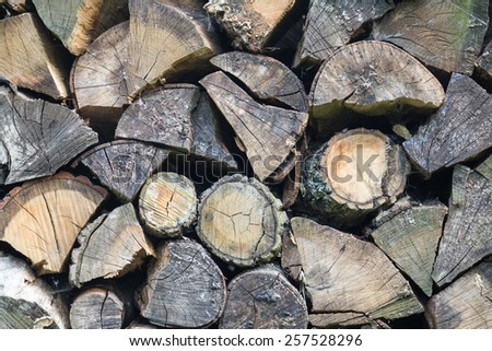 chopped wood in garden stacked to be used for fire place