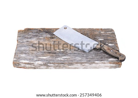 Chopping block and cleaver isolated on white background.
