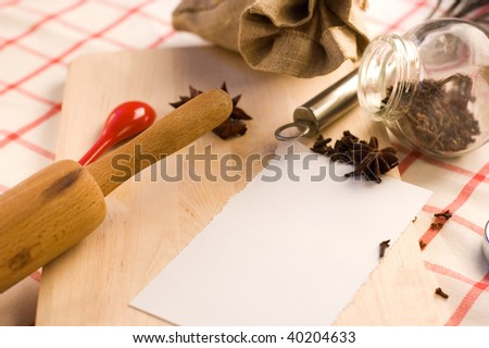 chopping board, spices, rolling pin and sack