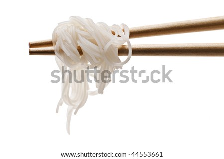 Chopsticks holding oriental noodles isolated on white - stock photo