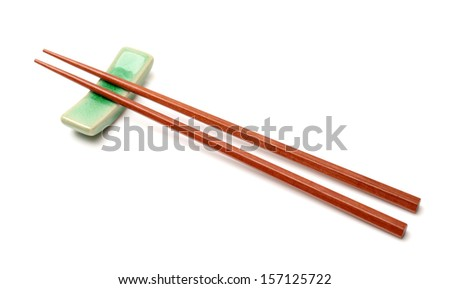 Chopsticks on white background