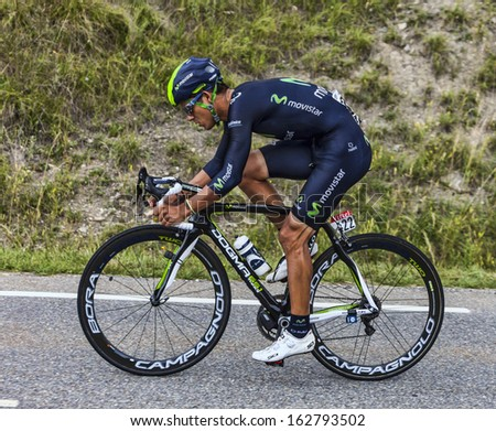 CHORGES, FRANCE- JUL 17:The Costa Rican  cyclist Andrey Amador from Movistar Team pedaling during the stage 17 of Le Tour de France 2013, a time trial between Embrun and Chorges on July 17 2013 - stock photo