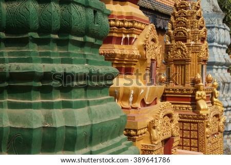 Chortens and stupas Wat Damnak monastery in Siem Reap,  Cambodia - stock photo