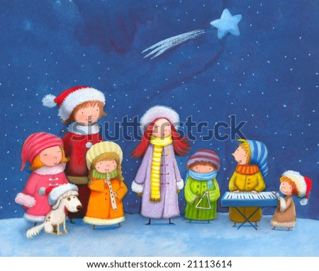 chorus group of seven children with dog singing Christmas carols during Christmas eve - stock photo