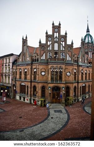 Chorzow, Poland - Circa October 2009: Historic post office edifice built in XIX century in neo-Gothic style.