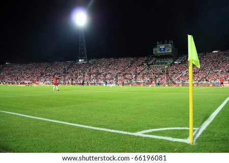 CHORZOW - SEPTEMBER 5: Night image of the Slaski Stadium before the 2010 FIFA World Cup qualifying match between Poland and Northern Ireland on September 5, 2009 in Chorzow, Poland.