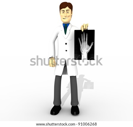 chracter doctor with x-ray whole body - stock photo