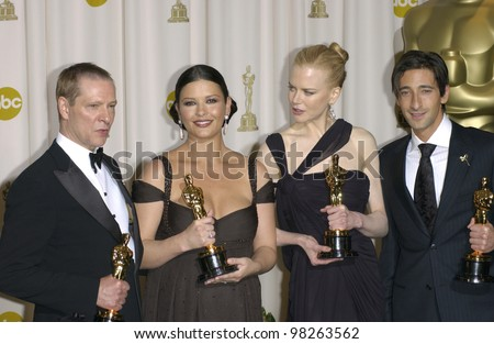 CHRIS COOPER (left), CATHERINE ZETA-JONES, NICOLE KIDMAN & ADRIEN BRODY at the 75th Academy Awards at the Kodak Theatre, Hollywood, California. March 23, 2003