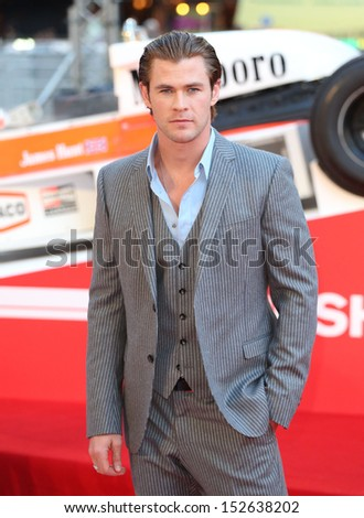 "Chris Hemsworth arriving for the ""Rush"" World premiere at the Odeon Leicester Square, London. 02/09/2013 - stock photo"