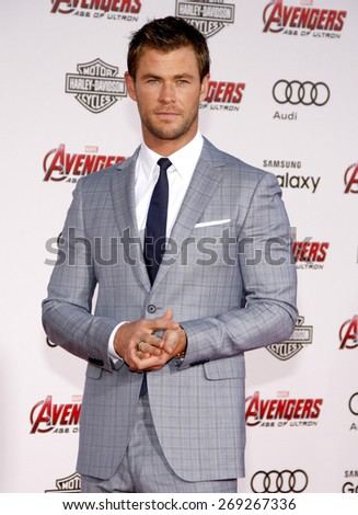 Chris Hemsworth at the World premiere of Marvel's 'Avengers: Age Of Ultron' held at the Dolby Theatre in Hollywood, USA on April 13, 2015.  - stock photo