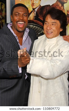 "Chris Tucker and Jackie Chan at the Los Angeles Premiere of ""Rush Hour 3"". Mann's Chinese Theater, Hollywood, CA. 07-30-07 - stock photo"