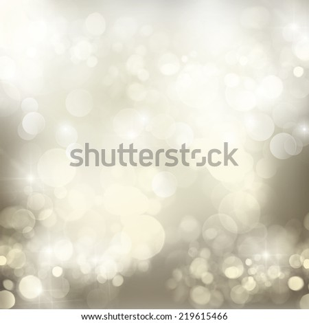 chrismas silver  background with bright  sparkles and lights - stock photo