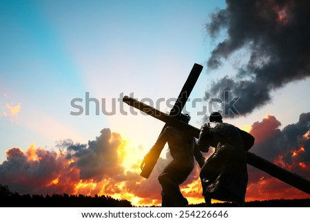 Christ carrying the cross - stock photo