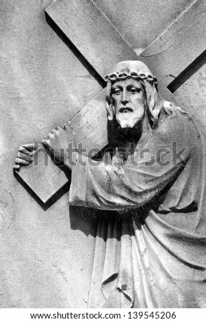 Christ Carrying the Cross - detail of antique relief, Italy, Europe - stock photo