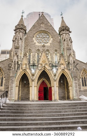 Christ Church Anglican Cathedral in Montreal on a Snowy Day - stock photo