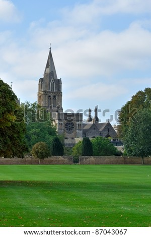 Christ Church cathedral, Oxford, england, from Christchurch Meadows - stock photo