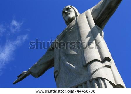Christ the Redeemer, O Cristo Redentor, is a statue of Jesus Christ in Rio de Janeiro, Brazil - stock photo