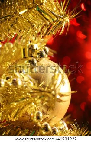 christams balls over yellow - stock photo