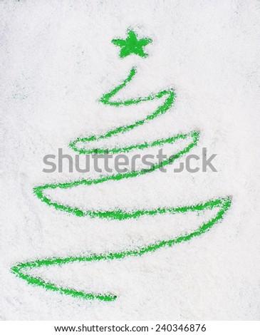 Christams tree on snow(writting) - stock photo