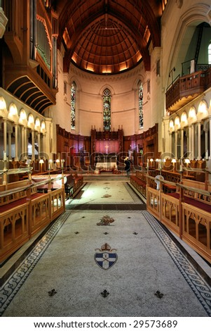 ChristChurch Anglican cathedral interior in Christchurch, Canterbury, New Zealand - stock photo