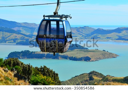 CHRISTCHURCH - DEC 04 2015:Christchurch Gondola.It offers a unique Christchurch sightseeing experience of breathtaking views of the Christchurch cityscape, Canterbury plains and mighty Southern Alps - stock photo