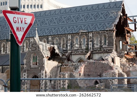 CHRISTCHURCH, NEW ZEALAND - FEBRUARY 14, 2013: Downtown of Christchurch damaged by earthquake in February 2011