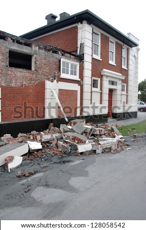 CHRISTCHURCH, NEW ZEALAND, FEBRUARY 26, 2011 - Typical damage to brick buildings from 6.4 earthquake in Christchurch, South Island, New Zealand, 22-2-2011 - stock photo