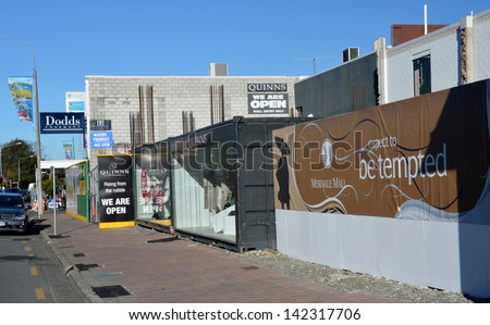 CHRISTCHURCH, NEW ZEALAND - JUNE 08, 2013: Christchurch Earthquake Rebuild - Merivale fashion shops are open for business in temporary containers on June 08, 2013 in Christchurch - stock photo