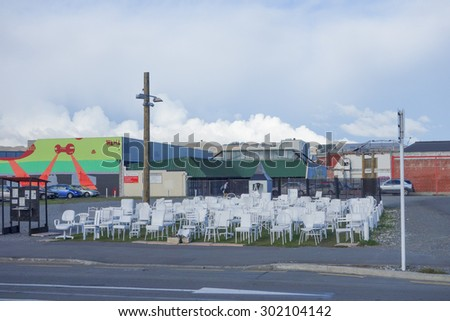 CHRISTCHURCH, NEW ZEALAND - JUNE 11, 2015: 185 Empty Chairs is a temporary art installation to remember the victims of the 2011 earthquake