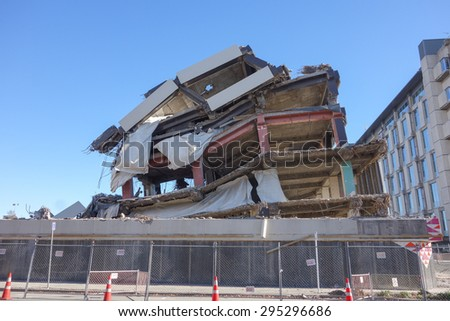 CHRISTCHURCH, NEW ZEALAND - JUNE 11, 2015: Ruins of buildings destroyed in the 2011 earthquake are still visible today in town