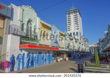 CHRISTCHURCH, NEW ZEALAND - JUNE 10, 2015: View of the city centre - stock photo