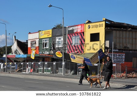 CHRISTCHURCH, NEW ZEALAND - MARCH 09: A row of eastern suburbs shops in  Linwood Avenue collapse after an earthquake on March 09, 2011 in Christchurch. - stock photo