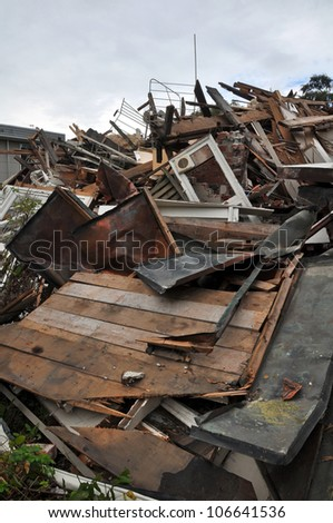 CHRISTCHURCH, NEW ZEALAND - MARCH 17: Demolished houses in Durham Street after a devastating earthquake on March 17, 2011 in Christchurch. - stock photo